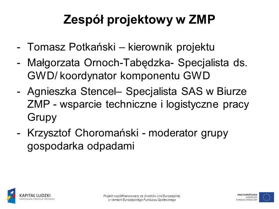 2 Zespół projektowy w ZMP -Tomasz Potkański – kierownik projektu -Małgorzata Ornoch-Tabędzka- Specjalista ds. GWD/ koordynator komponentu GWD -Agniesz
