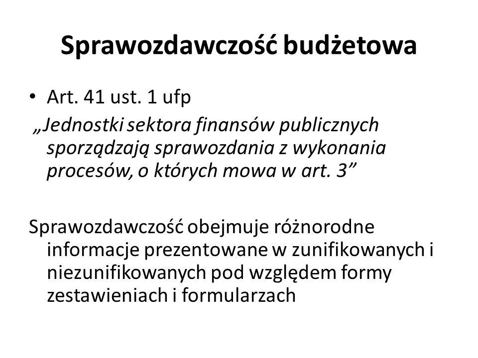Sprawozdawczość budżetowa Art. 41 ust. 1 ufp Jednostki sektora finansów publicznych sporządzają sprawozdania z wykonania procesów, o których mowa w ar