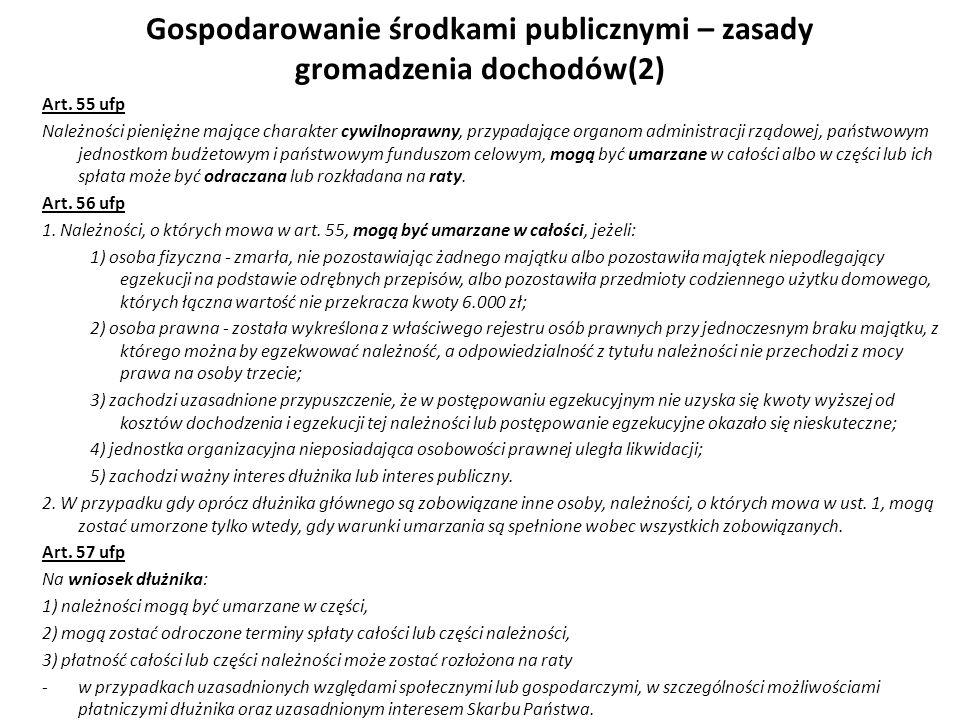 Gospodarowanie środkami publicznymi – zasady gromadzenia dochodów(2) Art. 55 ufp Należności pieniężne mające charakter cywilnoprawny, przypadające org