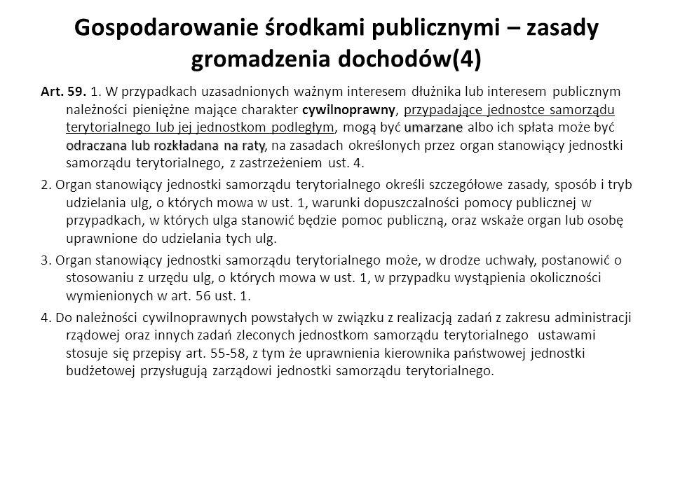 Gospodarowanie środkami publicznymi – zasady gromadzenia dochodów(4) umarzane odraczana lub rozkładana na raty Art. 59. 1. W przypadkach uzasadnionych