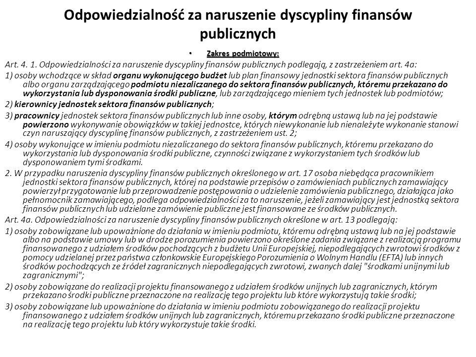 Odpowiedzialność za naruszenie dyscypliny finansów publicznych Zakres podmiotowy: Zakres podmiotowy: Art. 4. 1. Odpowiedzialności za naruszenie dyscyp