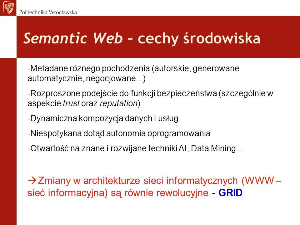 Semantic Web – cechy środowiska -Metadane różnego pochodzenia (autorskie, generowane automatycznie, negocjowane...) -Rozproszone podejście do funkcji