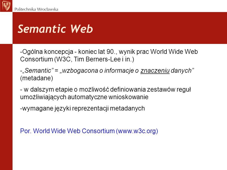 Semantic Web -Ogólna koncepcja - koniec lat 90., wynik prac World Wide Web Consortium (W3C, Tim Berners-Lee i in.) -Semantic = wzbogacona o informacje