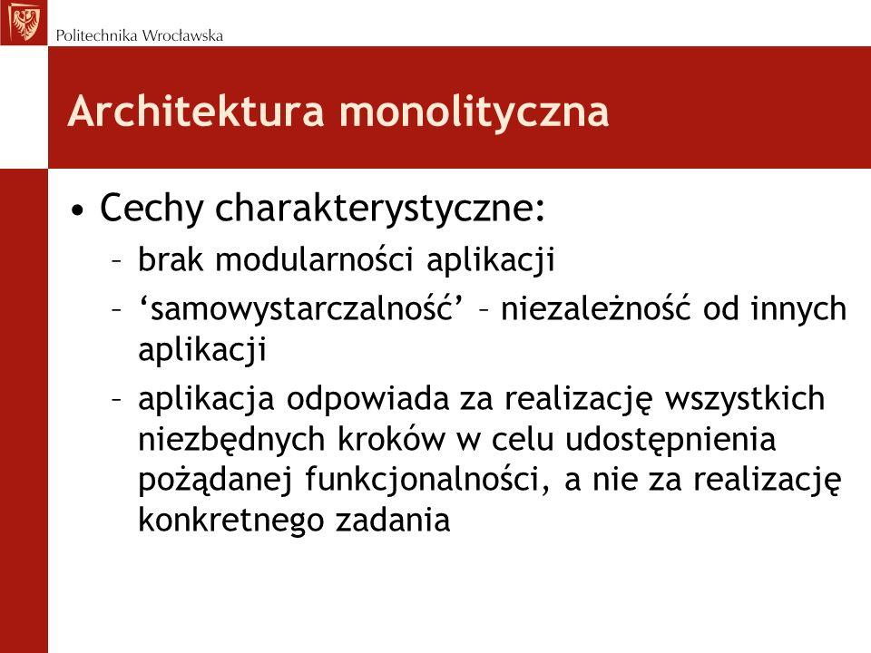 Architektura monolityczna Cechy charakterystyczne: –brak modularności aplikacji –samowystarczalność – niezależność od innych aplikacji –aplikacja odpo