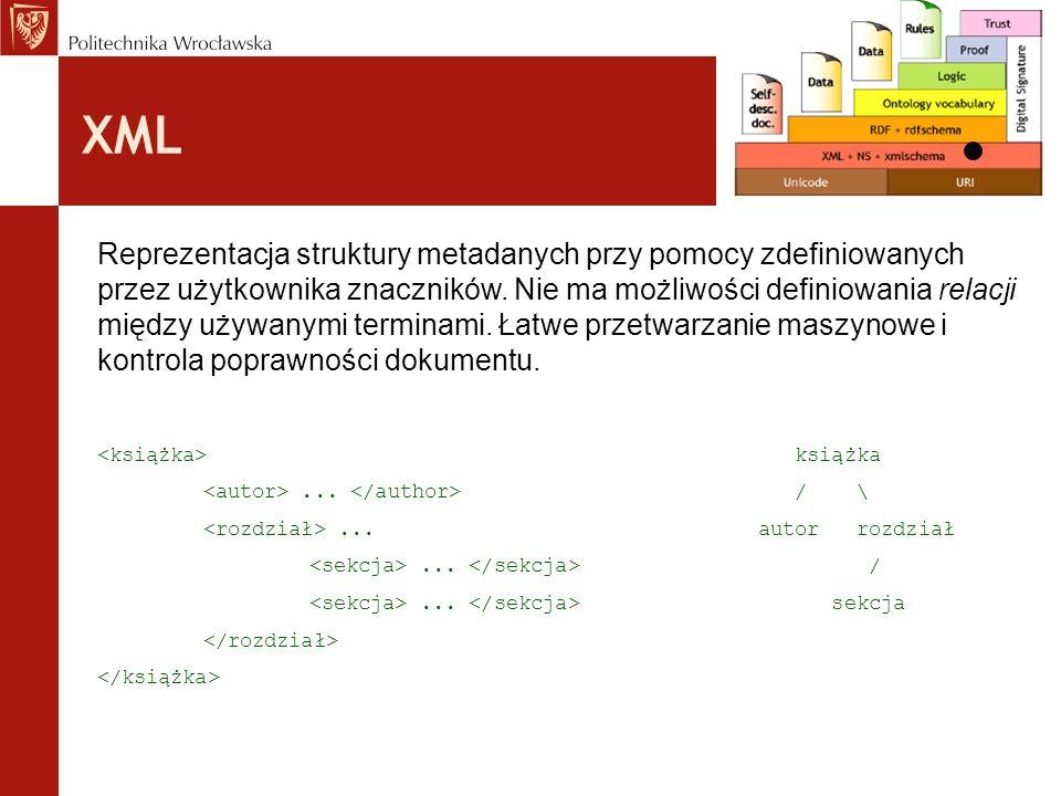 XML Reprezentacja struktury metadanych przy pomocy zdefiniowanych przez użytkownika znaczników. Nie ma możliwości definiowania relacji między używanym