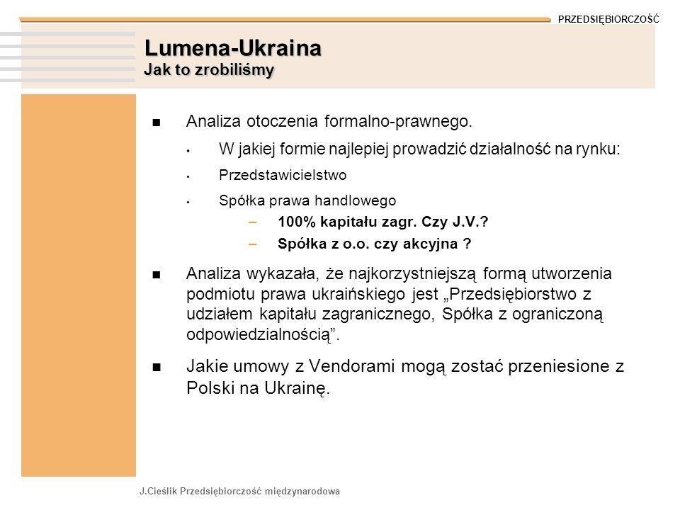 PRZEDSIĘBIORCZOŚĆ J.Cieślik Przedsiębiorczość międzynarodowa Lumena-Ukraina Jak to zrobiliśmy Analiza otoczenia formalno-prawnego.