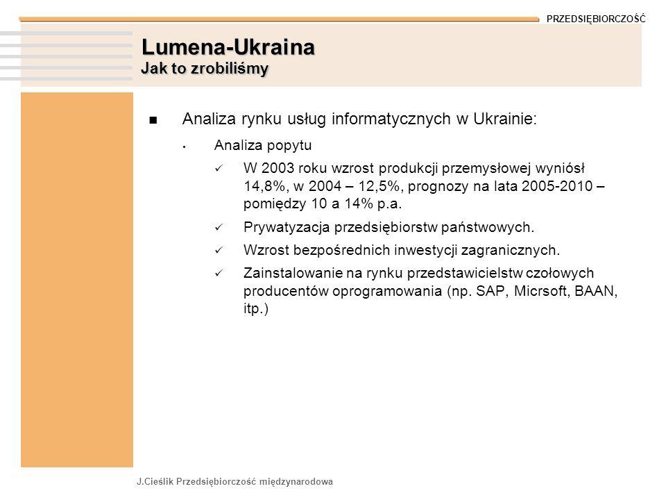 PRZEDSIĘBIORCZOŚĆ J.Cieślik Przedsiębiorczość międzynarodowa Lumena-Ukraina Jak to zrobiliśmy Analiza rynku usług informatycznych w Ukrainie: Analiza popytu W 2003 roku wzrost produkcji przemysłowej wyniósł 14,8%, w 2004 – 12,5%, prognozy na lata 2005-2010 – pomiędzy 10 a 14% p.a.
