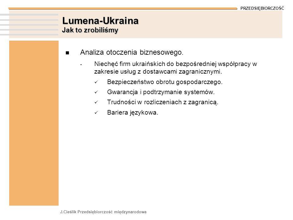 PRZEDSIĘBIORCZOŚĆ J.Cieślik Przedsiębiorczość międzynarodowa Lumena-Ukraina Jak to zrobiliśmy Analiza otoczenia biznesowego.