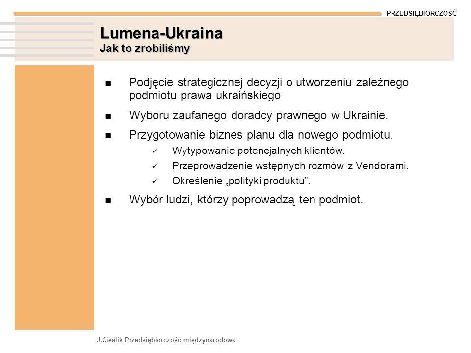 PRZEDSIĘBIORCZOŚĆ J.Cieślik Przedsiębiorczość międzynarodowa Lumena-Ukraina Jak to zrobiliśmy Podjęcie strategicznej decyzji o utworzeniu zależnego podmiotu prawa ukraińskiego Wyboru zaufanego doradcy prawnego w Ukrainie.