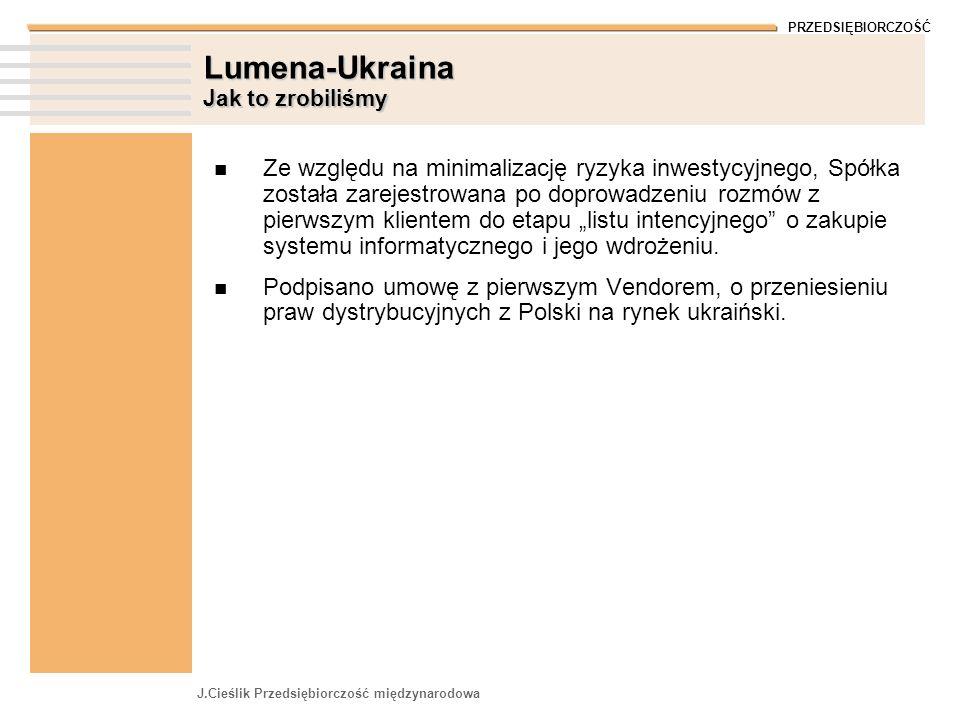 PRZEDSIĘBIORCZOŚĆ J.Cieślik Przedsiębiorczość międzynarodowa Lumena-Ukraina Jak to zrobiliśmy Ze względu na minimalizację ryzyka inwestycyjnego, Spółka została zarejestrowana po doprowadzeniu rozmów z pierwszym klientem do etapu listu intencyjnego o zakupie systemu informatycznego i jego wdrożeniu.