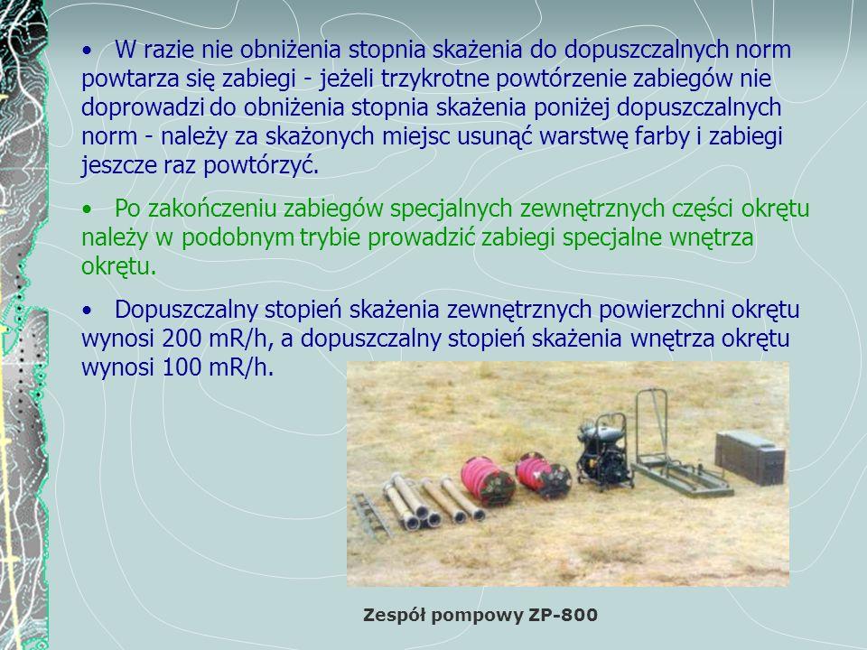 Instalacja do odkażania umundurowania AGW-3u Załogę nie biorącą udziału w przeprowadzeniu zabiegów specjalnych kieruje się na plac zabiegów sanitarnych.
