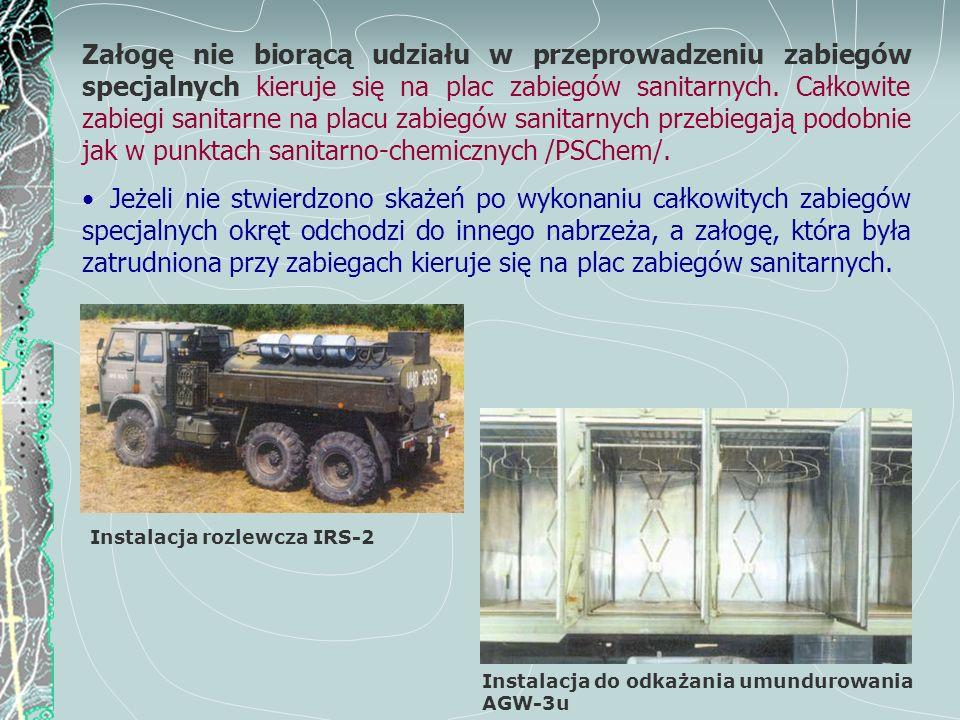 Instalacja do odkażania umundurowania AGW-3u Załogę nie biorącą udziału w przeprowadzeniu zabiegów specjalnych kieruje się na plac zabiegów sanitarnyc