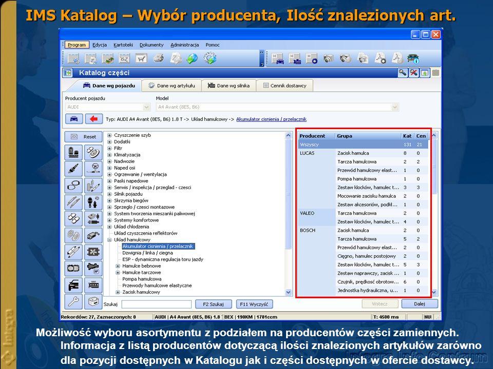 IMS Katalog – Wybór producenta, Ilość znalezionych art.