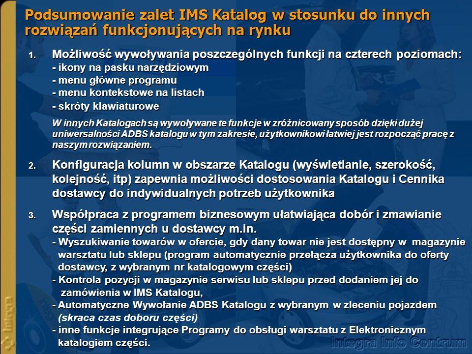 Podsumowanie zalet IMS Katalog w stosunku do innych rozwiązań funkcjonujących na rynku 1.