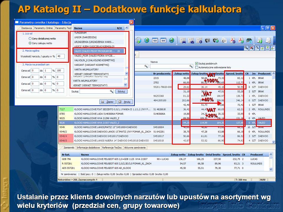 AP Katalog - Porównanie ustawień parametrów programu Dotychczas stosowane rozwiązania dot.