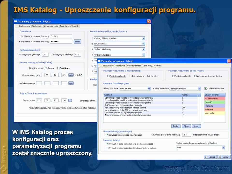 IMS Katalog - Uproszczenie konfiguracji programu.