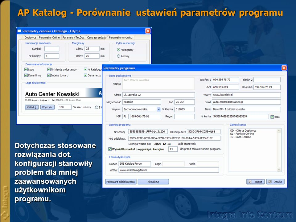 IMS Katalog nowe funkcje – Wybór części wg nr artykułu Funkcja dane wg artykułu umożliwia wyszukiwanie części wg - producenta części np.