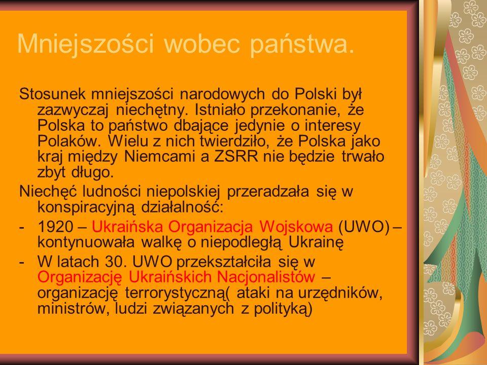 Mniejszości wobec państwa. Stosunek mniejszości narodowych do Polski był zazwyczaj niechętny. Istniało przekonanie, że Polska to państwo dbające jedyn
