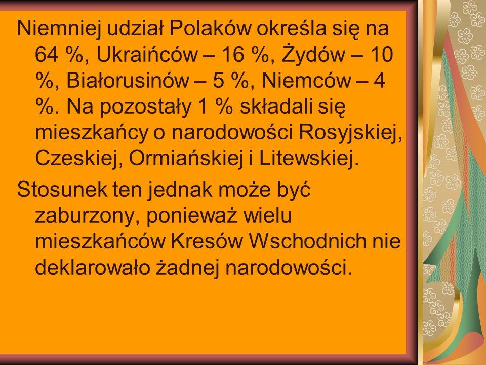 Niemniej udział Polaków określa się na 64 %, Ukraińców – 16 %, Żydów – 10 %, Białorusinów – 5 %, Niemców – 4 %. Na pozostały 1 % składali się mieszkań
