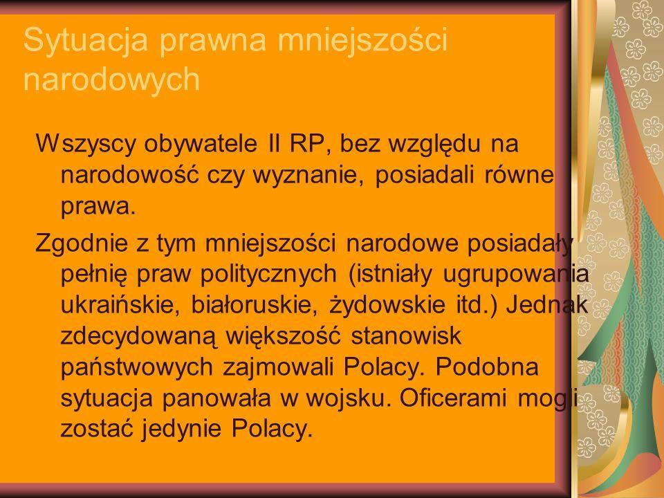 Polityka wobec mniejszości narodowych Polskie ugrupowania polityczne prezentowały różne nastawienie wobec mniejszości: -Endecja – nie ukrywała, że jej dążeniem jest utworzenie państwa jednolitego narodowościowo; -Obóz Piłsudskiego – popierał proces asymilacji ludności obcej z Polakami; -PPS – postulował nadanie mniejszościom narodowym autonomii; Polskie ugrupowania polityczne jednak nigdy nie wypracowały wspólnego stanowiska wobec mniejszości narodowych.