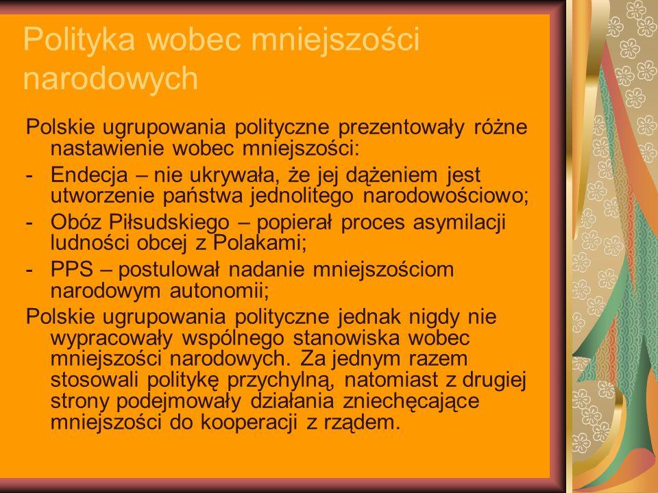 Polityka wobec mniejszości narodowych Polskie ugrupowania polityczne prezentowały różne nastawienie wobec mniejszości: -Endecja – nie ukrywała, że jej