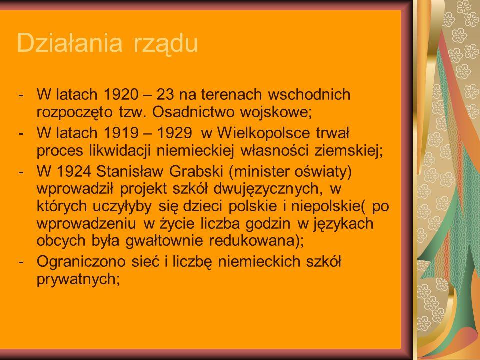 Działania rządu -W latach 1920 – 23 na terenach wschodnich rozpoczęto tzw. Osadnictwo wojskowe; -W latach 1919 – 1929 w Wielkopolsce trwał proces likw