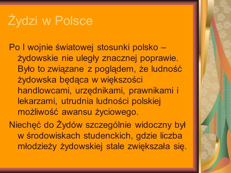 Żydzi w Polsce Po I wojnie światowej stosunki polsko – żydowskie nie uległy znacznej poprawie. Było to związane z poglądem, że ludność żydowska będąca