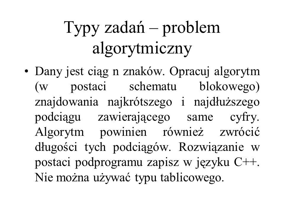 Typy zadań – problem algorytmiczny Dany jest ciąg n znaków. Opracuj algorytm (w postaci schematu blokowego) znajdowania najkrótszego i najdłuższego po