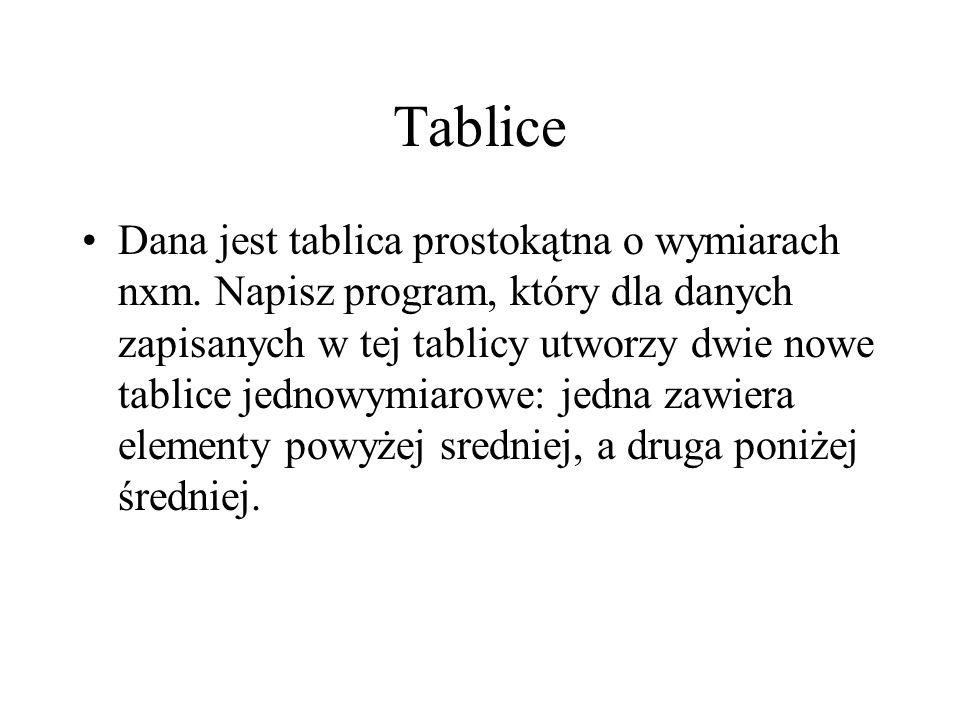 Tablice Dana jest tablica prostokątna o wymiarach nxm. Napisz program, który dla danych zapisanych w tej tablicy utworzy dwie nowe tablice jednowymiar