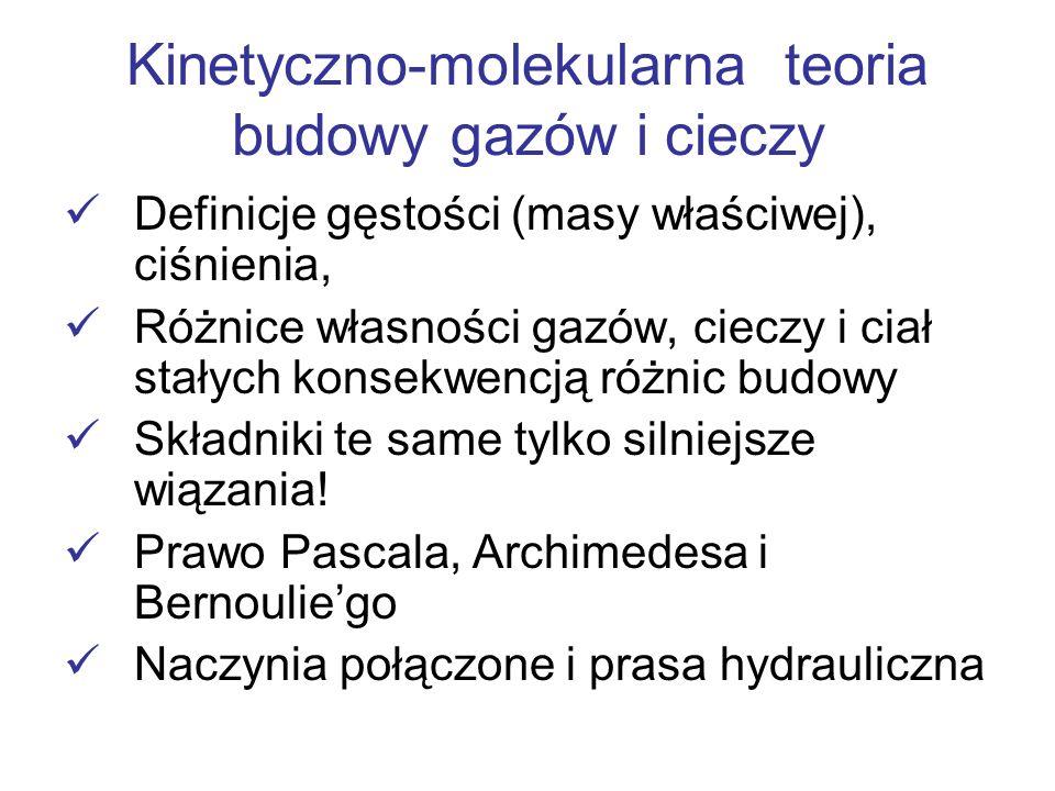 Kinetyczno-molekularna teoria budowy gazów i cieczy Definicje gęstości (masy właściwej), ciśnienia, Różnice własności gazów, cieczy i ciał stałych kon