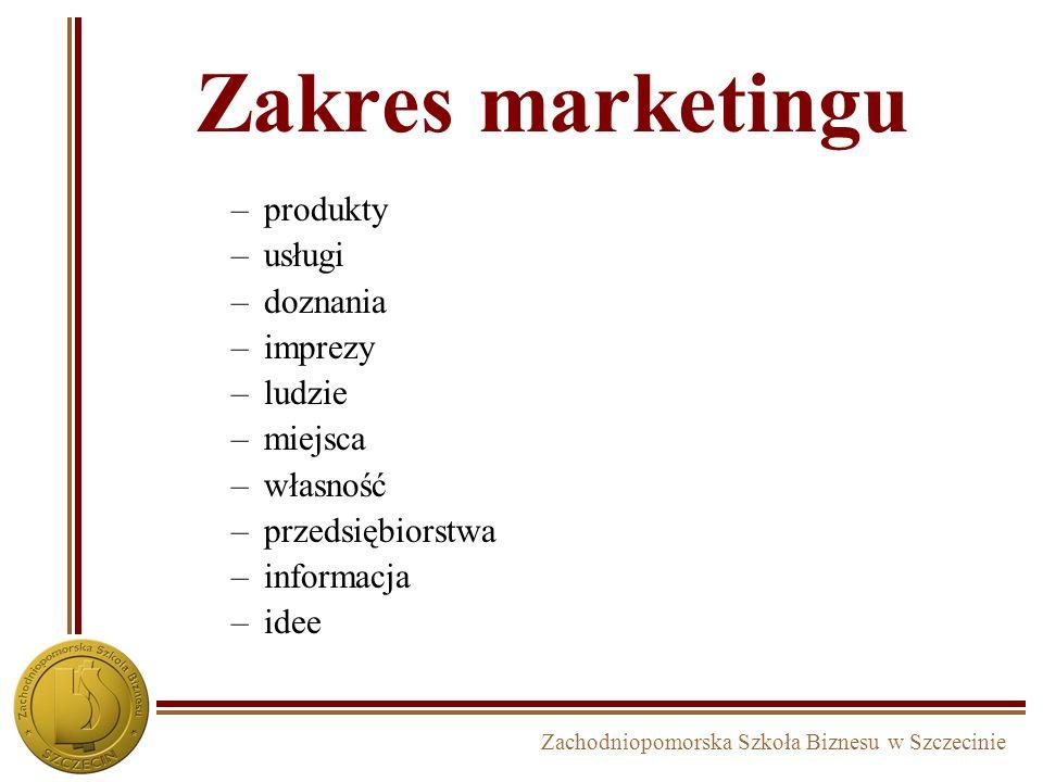 Zachodniopomorska Szkoła Biznesu w Szczecinie Zakres marketingu –produkty –usługi –doznania –imprezy –ludzie –miejsca –własność –przedsiębiorstwa –informacja –idee
