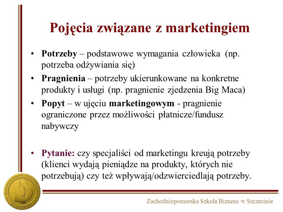 Zachodniopomorska Szkoła Biznesu w Szczecinie Pojęcia związane z marketingiem Potrzeby – podstawowe wymagania człowieka (np.