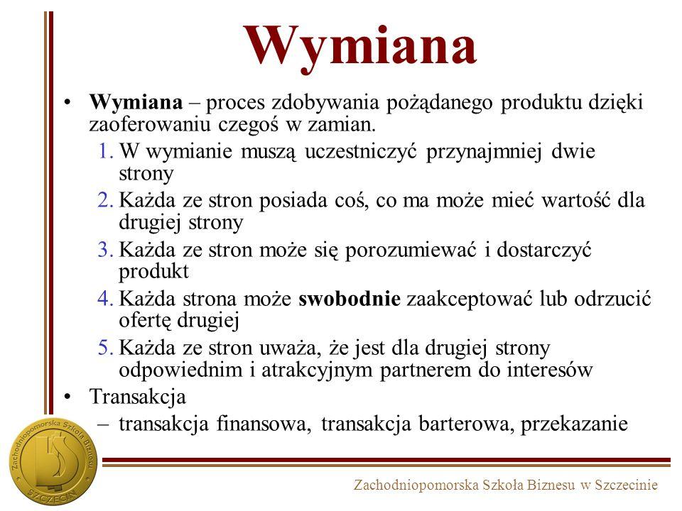 Zachodniopomorska Szkoła Biznesu w Szczecinie Wymiana Wymiana – proces zdobywania pożądanego produktu dzięki zaoferowaniu czegoś w zamian.