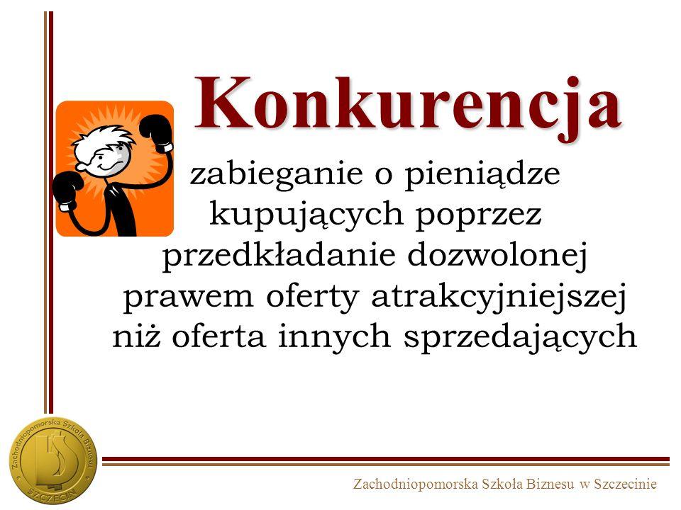 Zachodniopomorska Szkoła Biznesu w Szczecinie Konkurencja zabieganie o pieniądze kupujących poprzez przedkładanie dozwolonej prawem oferty atrakcyjniejszej niż oferta innych sprzedających