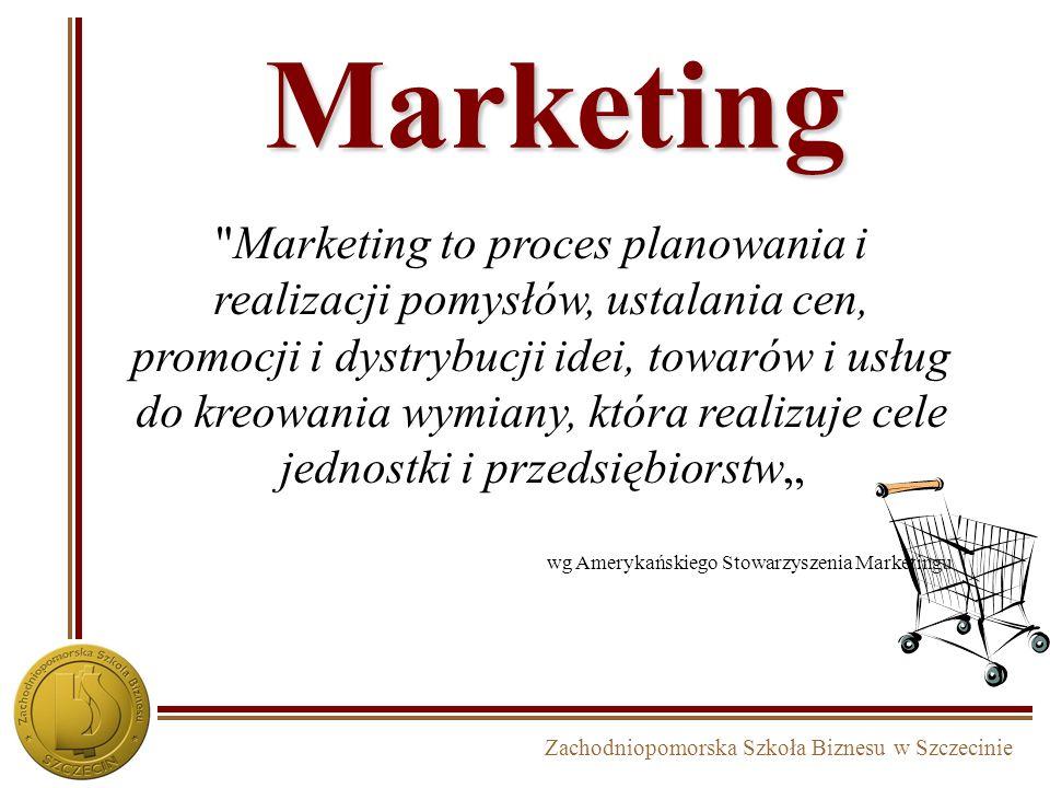 Zachodniopomorska Szkoła Biznesu w Szczecinie Marketing Marketing to proces planowania i realizacji pomysłów, ustalania cen, promocji i dystrybucji idei, towarów i usług do kreowania wymiany, która realizuje cele jednostki i przedsiębiorstw wg Amerykańskiego Stowarzyszenia Marketingu