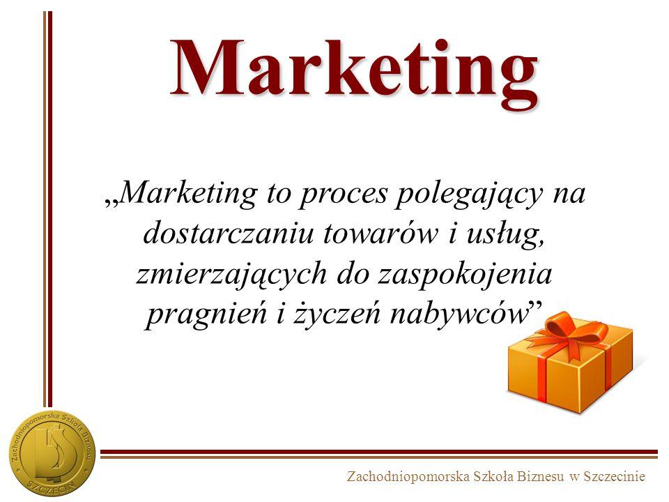 Zachodniopomorska Szkoła Biznesu w Szczecinie Marketing Marketing to proces polegający na dostarczaniu towarów i usług, zmierzających do zaspokojenia pragnień i życzeń nabywców