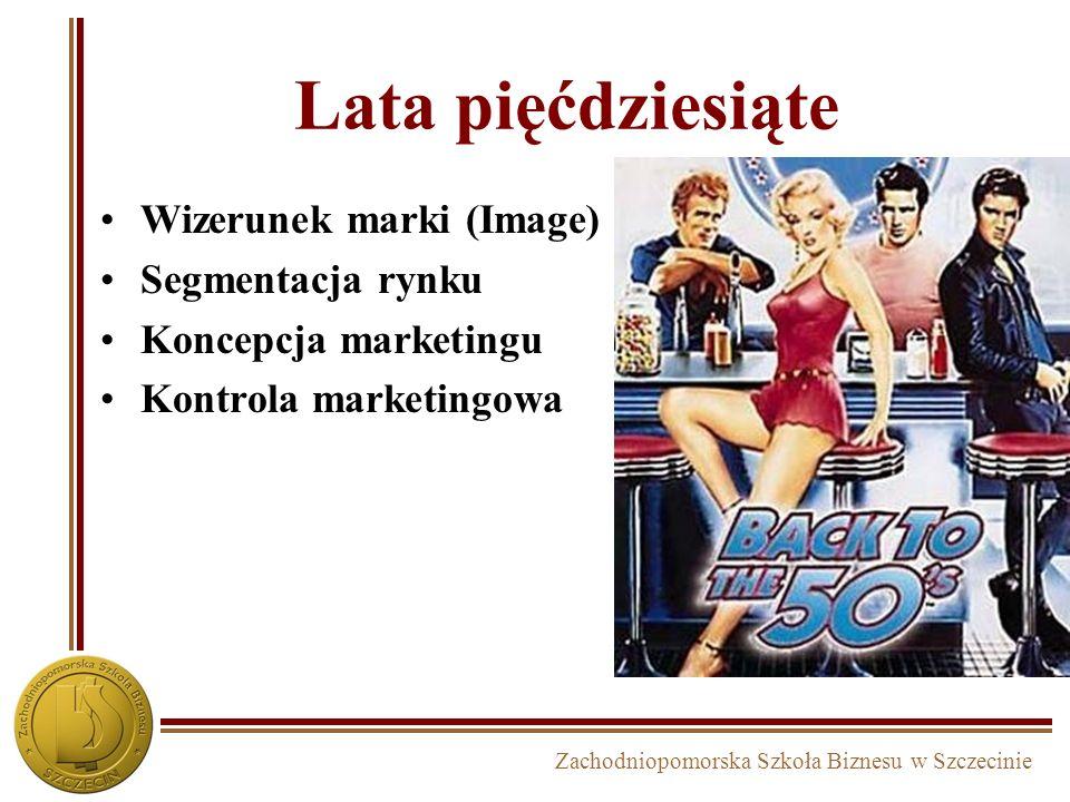 Zachodniopomorska Szkoła Biznesu w Szczecinie Lata pięćdziesiąte Wizerunek marki (Image) Segmentacja rynku Koncepcja marketingu Kontrola marketingowa