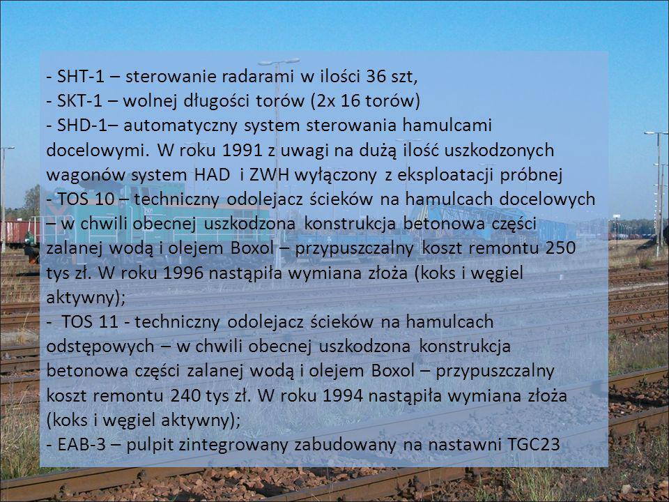 - SHT-1 – sterowanie radarami w ilości 36 szt, - SKT-1 – wolnej długości torów (2x 16 torów) - SHD-1– automatyczny system sterowania hamulcami docelow