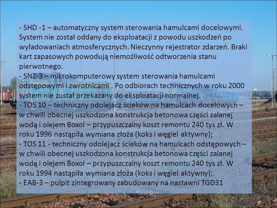 - SHD -1 – automatyczny system sterowania hamulcami docelowymi. System nie został oddany do eksploatacji z powodu uszkodzeń po wyładowaniach atmosfery