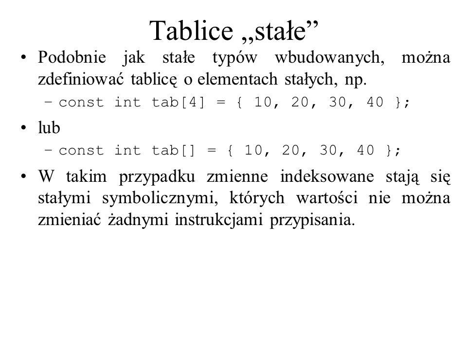 Tablice stałe Podobnie jak stałe typów wbudowanych, można zdefiniować tablicę o elementach stałych, np. –const int tab[4] = { 10, 20, 30, 40 }; lub –c