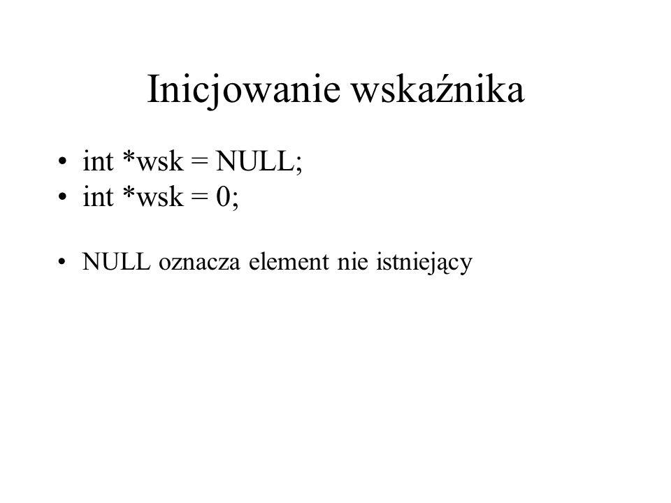 Inicjowanie wskaźnika int *wsk = NULL; int *wsk = 0; NULL oznacza element nie istniejący
