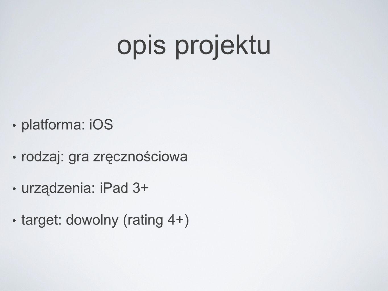 opis projektu platforma: iOS rodzaj: gra zręcznościowa urządzenia: iPad 3+ target: dowolny (rating 4+)