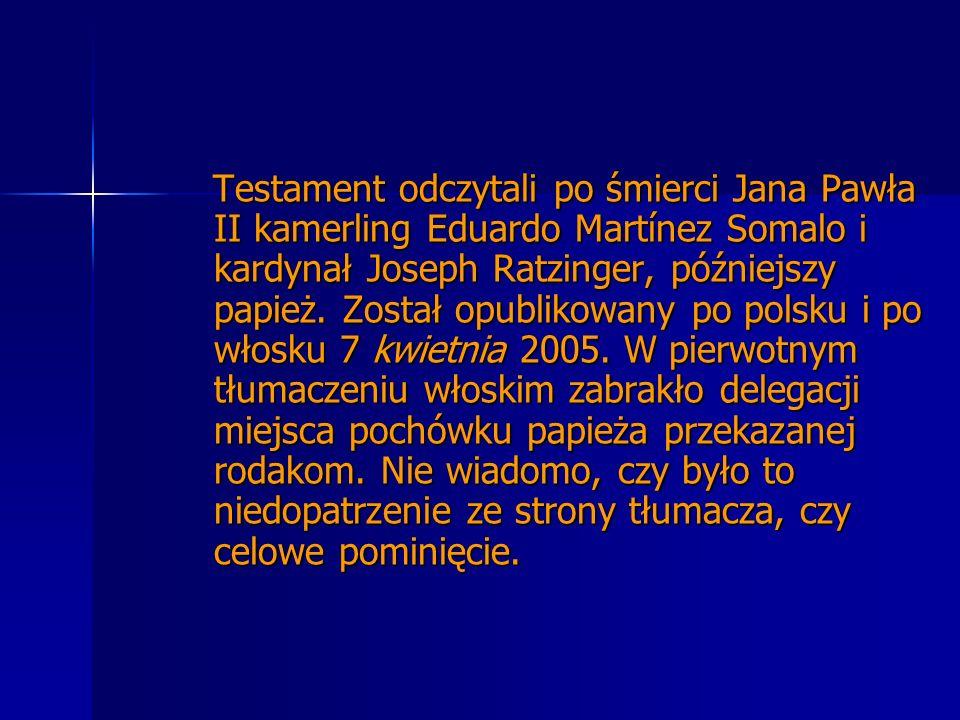 Testament odczytali po śmierci Jana Pawła II kamerling Eduardo Martínez Somalo i kardynał Joseph Ratzinger, późniejszy papież. Został opublikowany po