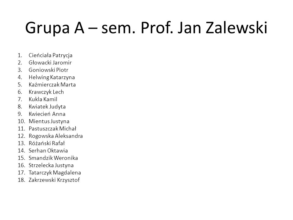 Grupa A – sem. Prof. Jan Zalewski 1.Cieńciała Patrycja 2.Głowacki Jaromir 3.Goniowski Piotr 4.Helwing Katarzyna 5.Kaźmierczak Marta 6.Krawczyk Lech 7.