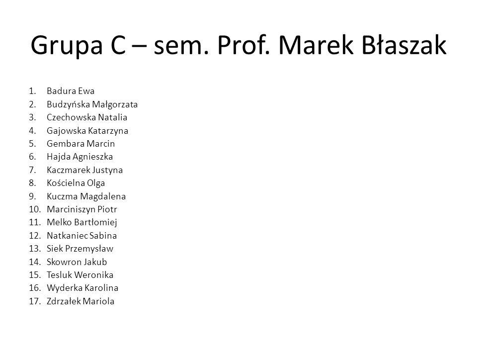 Grupa C – sem. Prof. Marek Błaszak 1.Badura Ewa 2.Budzyńska Małgorzata 3.Czechowska Natalia 4.Gajowska Katarzyna 5.Gembara Marcin 6.Hajda Agnieszka 7.