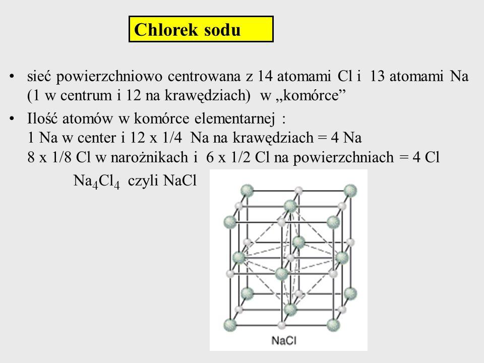 Chlorek sodu sieć powierzchniowo centrowana z 14 atomami Cl i 13 atomami Na (1 w centrum i 12 na krawędziach) w komórce Ilość atomów w komórce element