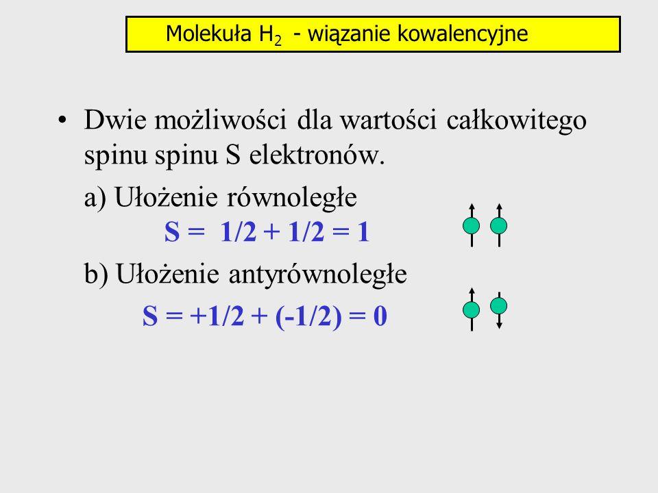 Dwie możliwości dla wartości całkowitego spinu spinu S elektronów. a) Ułożenie równoległe S = 1/2 + 1/2 = 1 b) Ułożenie antyrównoległe S = +1/2 + (-1/