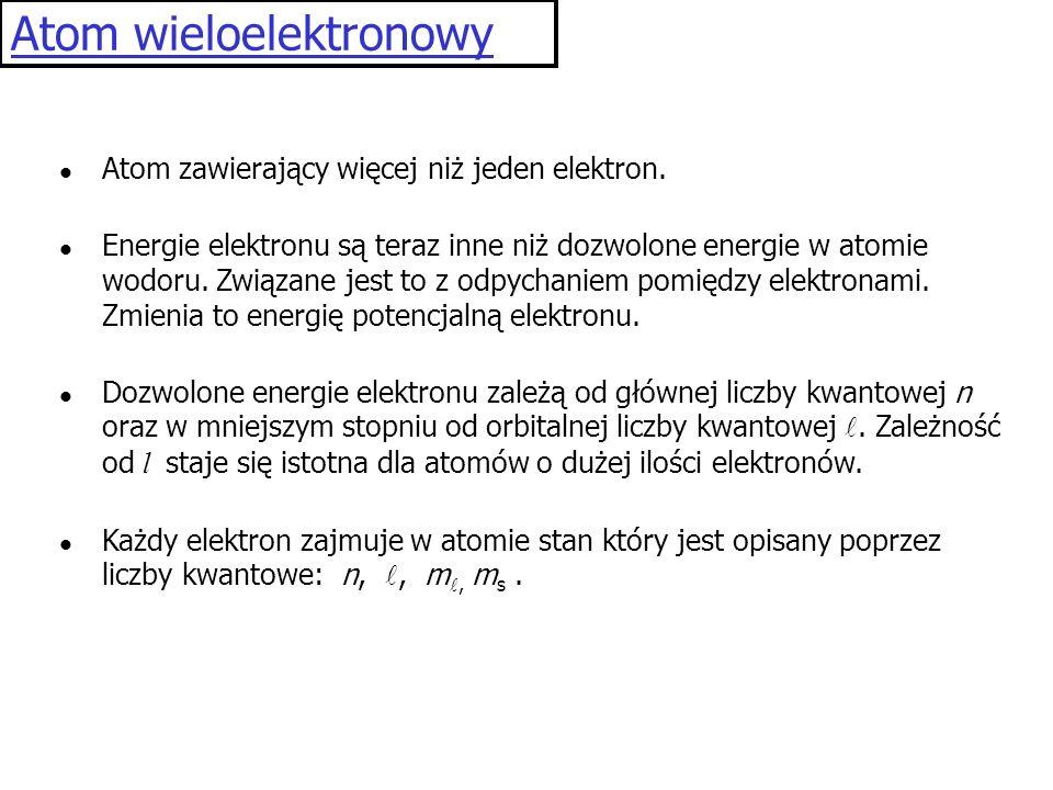 Atom wieloelektronowy Atom zawierający więcej niż jeden elektron. Energie elektronu są teraz inne niż dozwolone energie w atomie wodoru. Związane jest