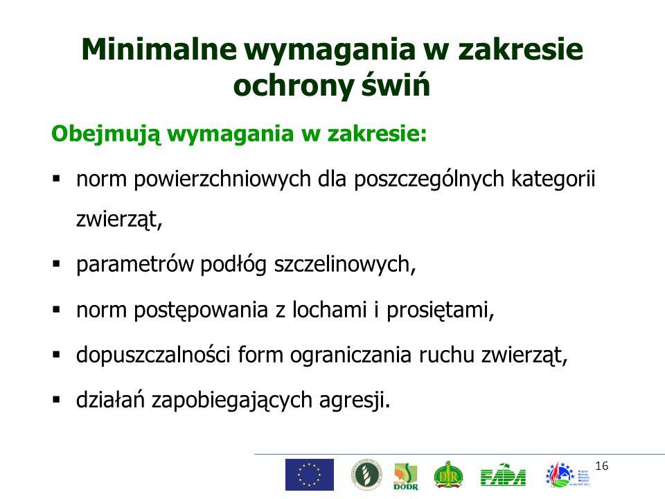 16 Minimalne wymagania w zakresie ochrony świń Obejmują wymagania w zakresie: norm powierzchniowych dla poszczególnych kategorii zwierząt, parametrów