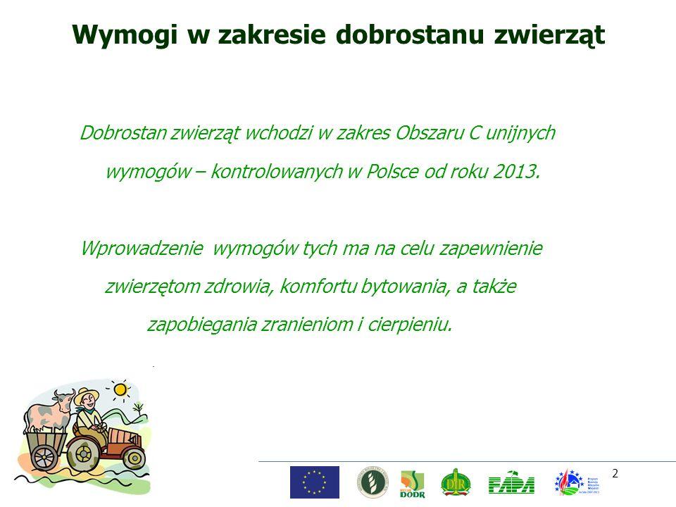 2 Wymogi w zakresie dobrostanu zwierząt Dobrostan zwierząt wchodzi w zakres Obszaru C unijnych wymogów – kontrolowanych w Polsce od roku 2013. Wprowad